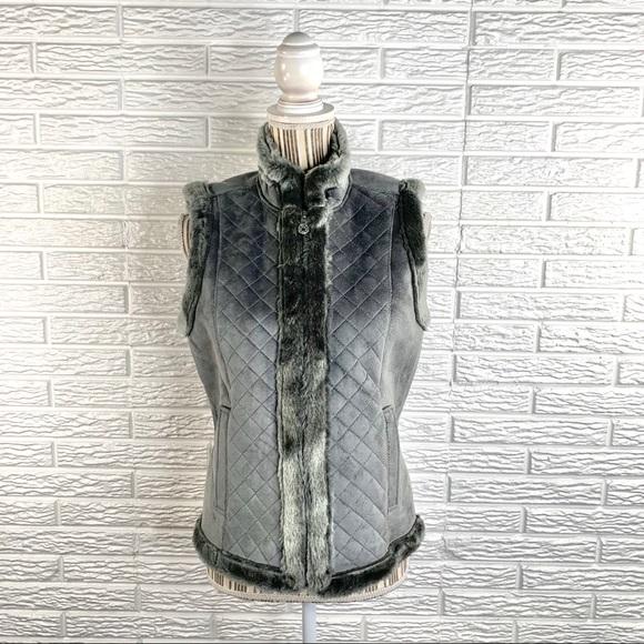 Jaclyn Smith Jackets Coats Gray Faux Suede Fur Vest Poshmark